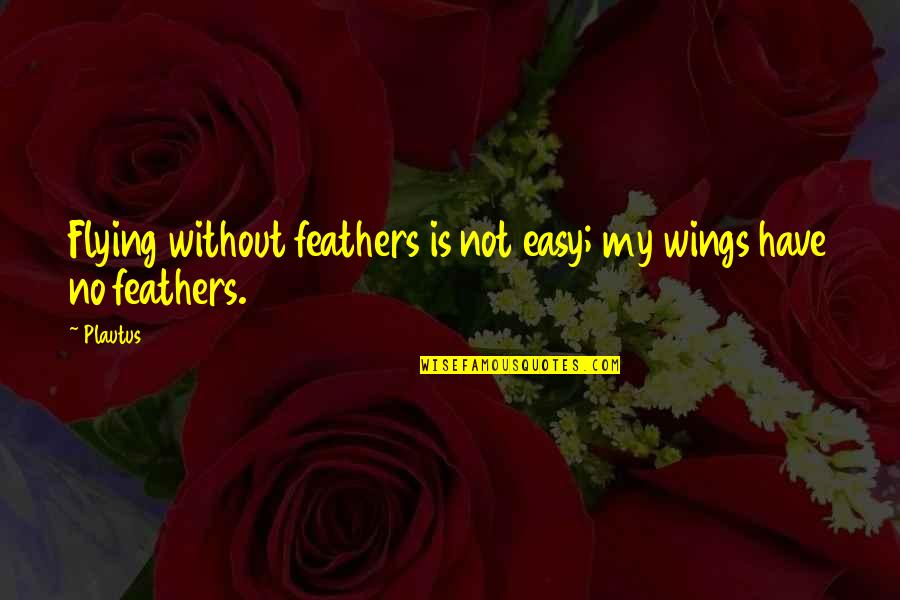 Aviation's Quotes By Plautus: Flying without feathers is not easy; my wings