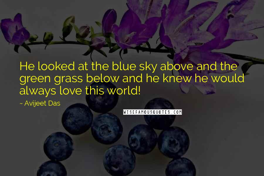 Avijeet Das quotes: He looked at the blue sky above and the green grass below and he knew he would always love this world!