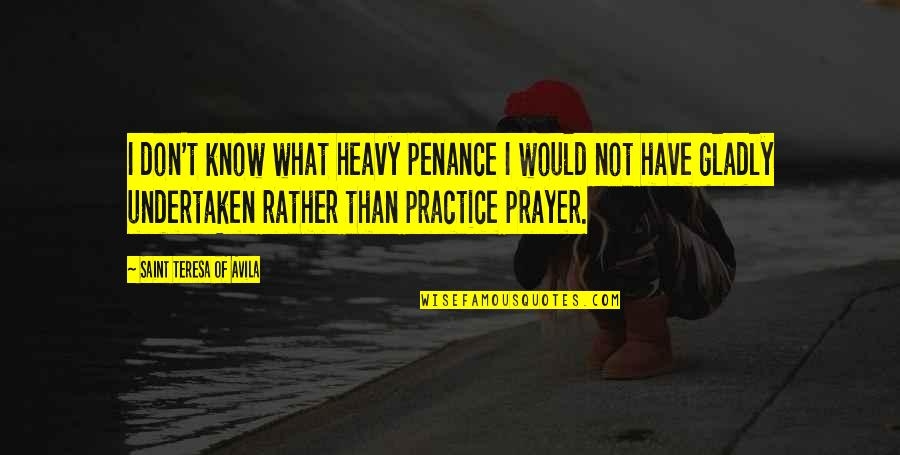 Avila Quotes By Saint Teresa Of Avila: I don't know what heavy penance I would