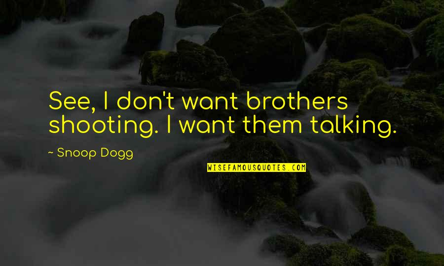 Avoidance By A Friend Quotes By Snoop Dogg: See, I don't want brothers shooting. I want