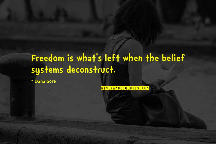 Awareness's Quotes By Dana Gore: Freedom is what's left when the belief systems