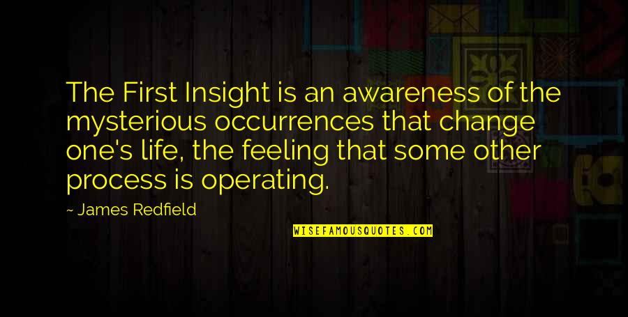 Awareness's Quotes By James Redfield: The First Insight is an awareness of the