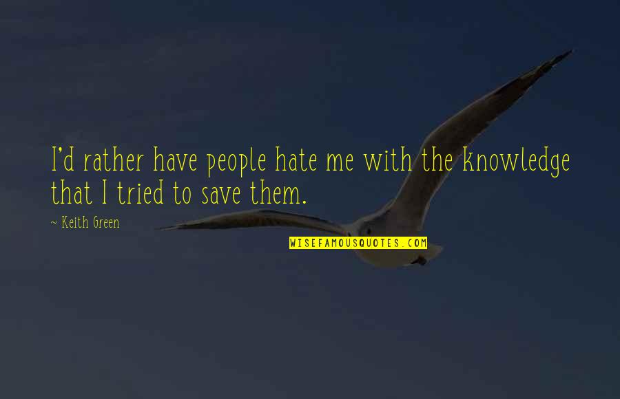 Ayame Sohma Quotes By Keith Green: I'd rather have people hate me with the