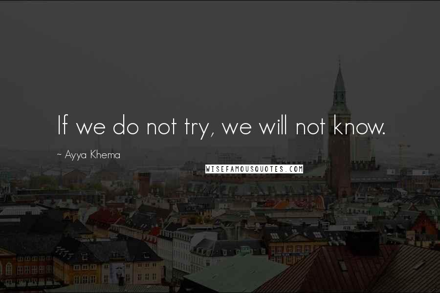 Ayya Khema quotes: If we do not try, we will not know.
