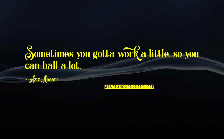 Aziz Quotes By Aziz Ansari: Sometimes you gotta work a little, so you