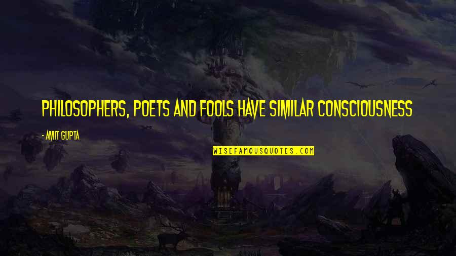 B J Gupta Quotes By Amit Gupta: Philosophers, Poets and Fools have similar Consciousness
