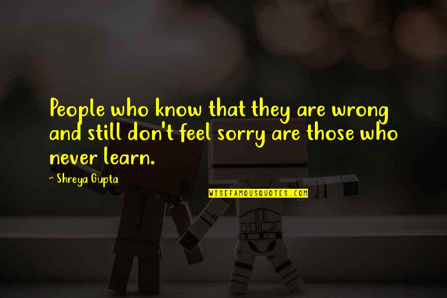 B J Gupta Quotes By Shreya Gupta: People who know that they are wrong and