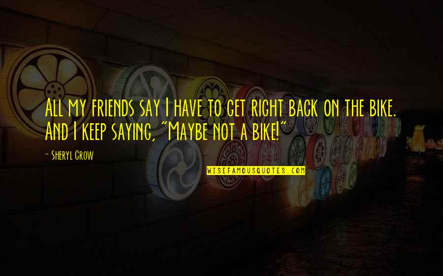 Back Friends Quotes By Sheryl Crow: All my friends say I have to get