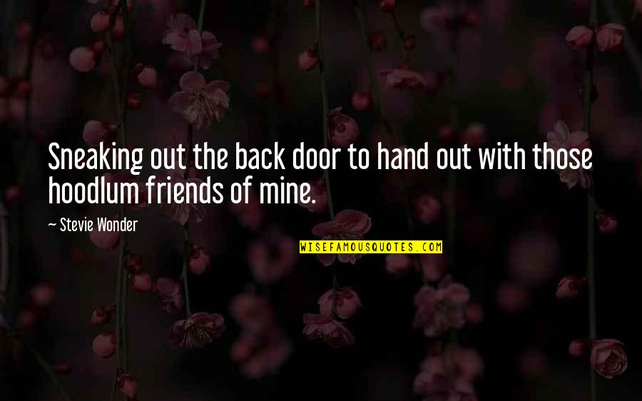 Back Friends Quotes By Stevie Wonder: Sneaking out the back door to hand out