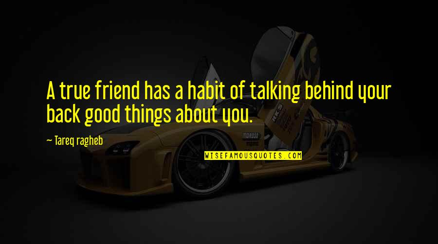 Back Friends Quotes By Tareq Ragheb: A true friend has a habit of talking