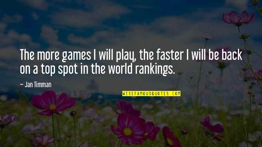 Back On Top Quotes By Jan Timman: The more games I will play, the faster