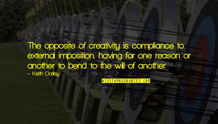 Back Strapping Quotes By Keith Oatley: The opposite of creativity is compliance to external