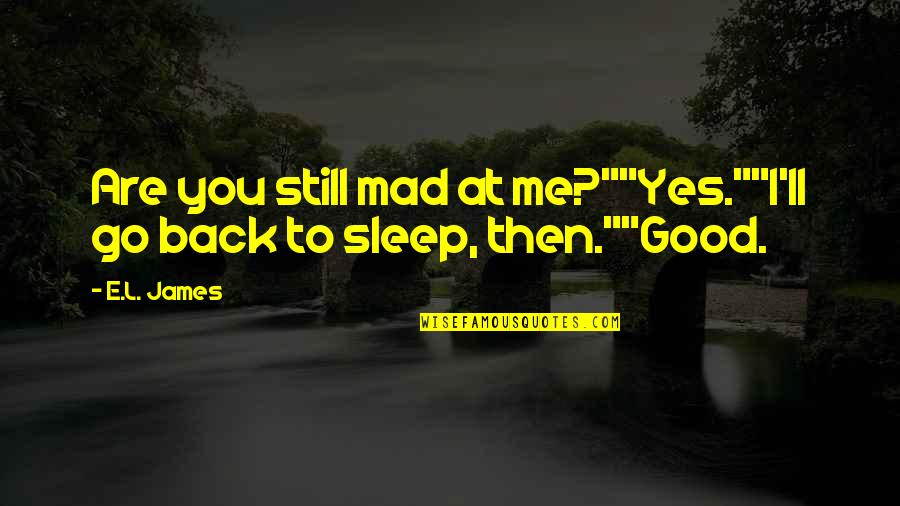"""Back Then Quotes By E.L. James: Are you still mad at me?""""""""Yes.""""""""I'll go back"""