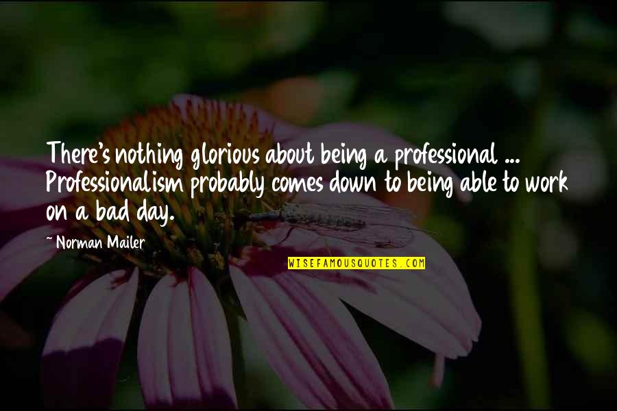 Bad Day At Work Quotes By Norman Mailer: There's nothing glorious about being a professional ...