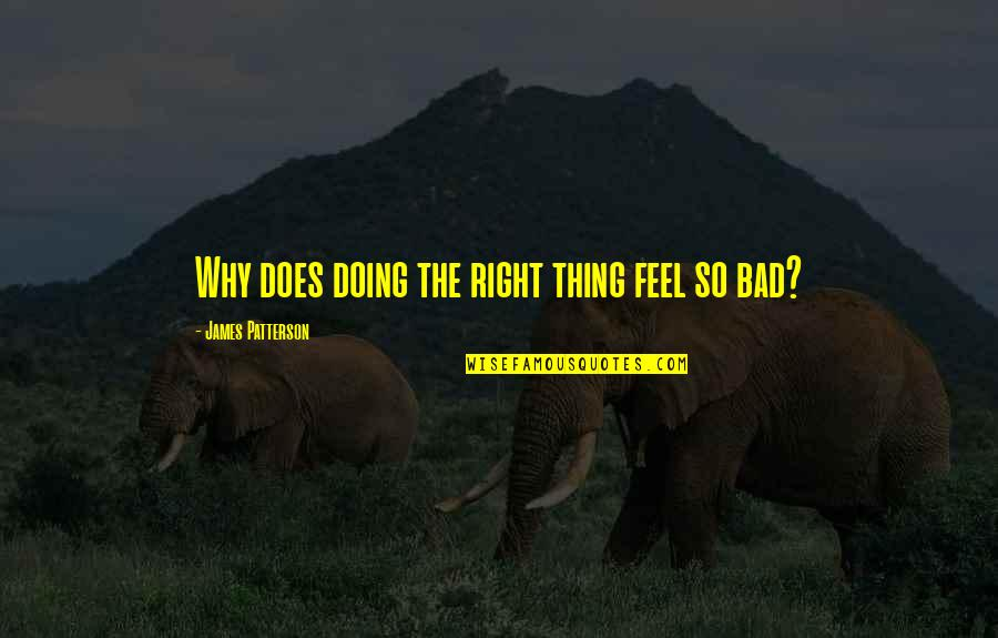 Bad Doing Quotes By James Patterson: Why does doing the right thing feel so