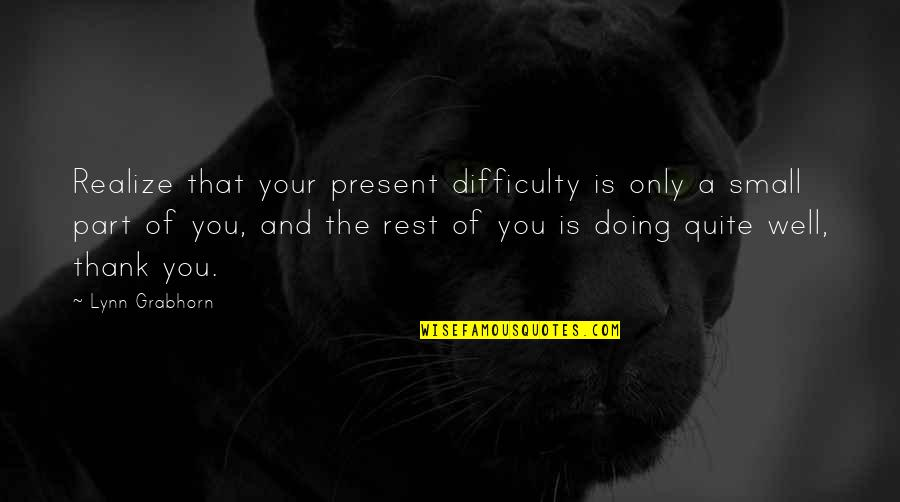 Bad Doing Quotes By Lynn Grabhorn: Realize that your present difficulty is only a