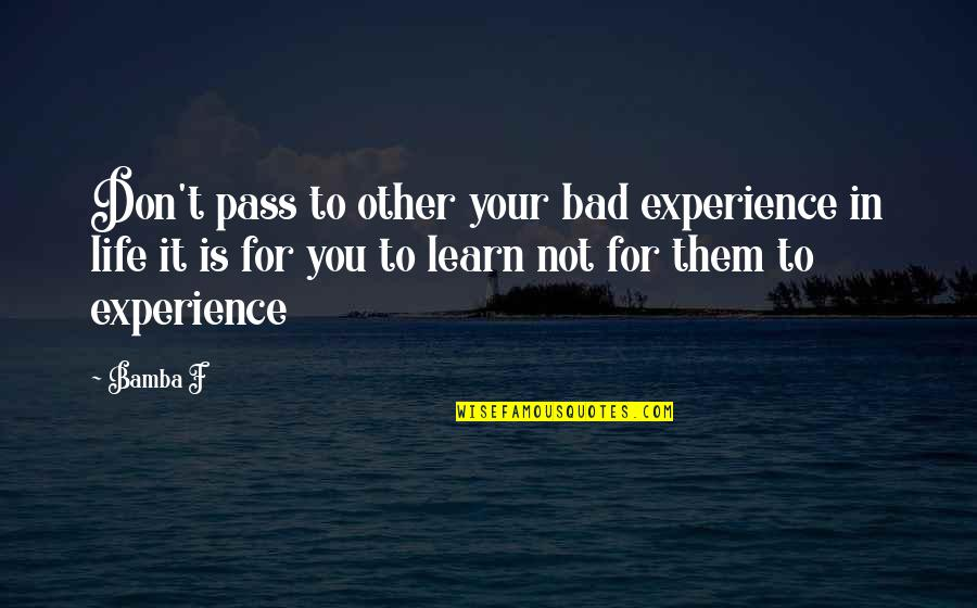 Bad Experience Quotes By Bamba F: Don't pass to other your bad experience in