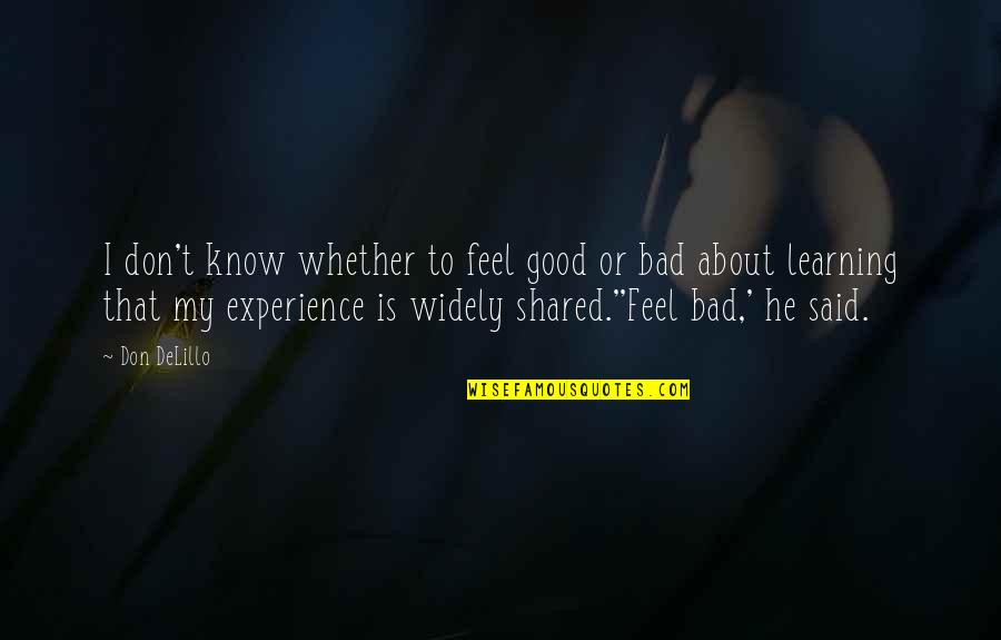Bad Experience Quotes By Don DeLillo: I don't know whether to feel good or