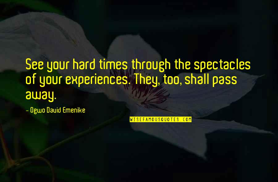 Bad Experience Quotes By Ogwo David Emenike: See your hard times through the spectacles of