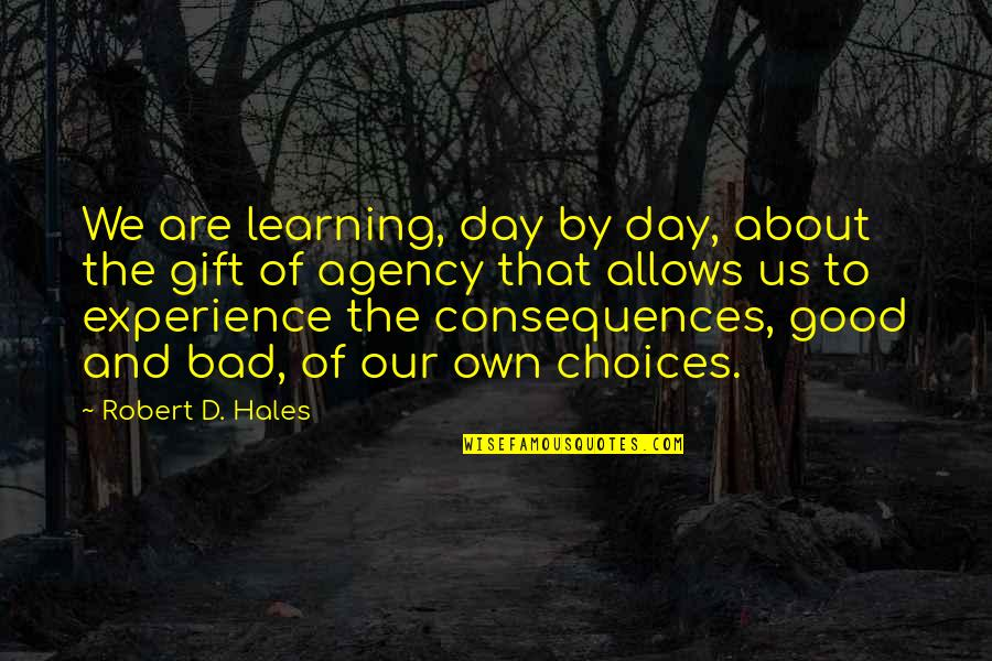 Bad Experience Quotes By Robert D. Hales: We are learning, day by day, about the