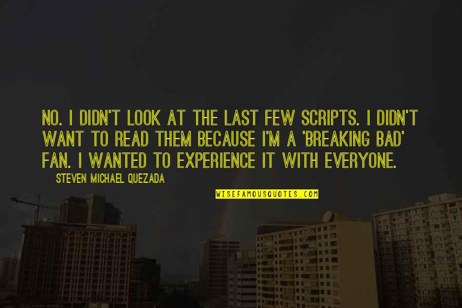 Bad Experience Quotes By Steven Michael Quezada: No. I didn't look at the last few