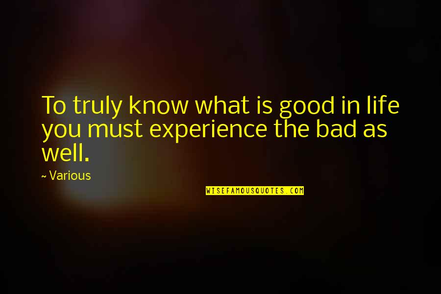 Bad Experience Quotes By Various: To truly know what is good in life
