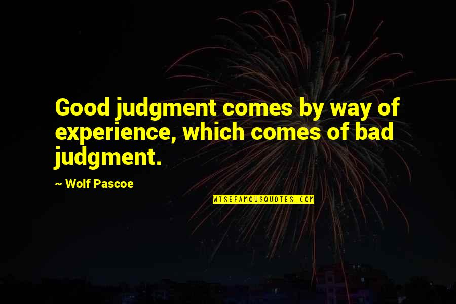 Bad Experience Quotes By Wolf Pascoe: Good judgment comes by way of experience, which