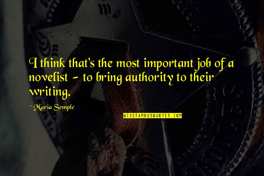 Bad Human Behavior Quotes By Maria Semple: I think that's the most important job of