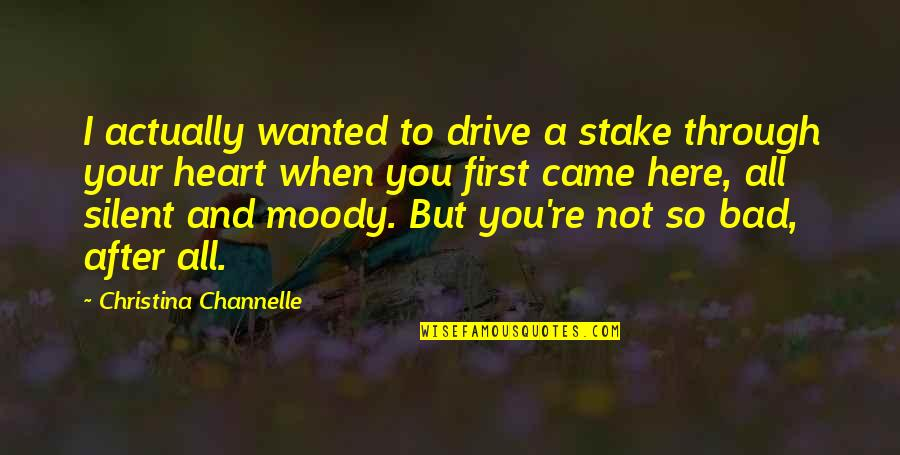 Bad Humor Quotes By Christina Channelle: I actually wanted to drive a stake through
