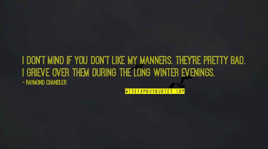 Bad Humor Quotes By Raymond Chandler: I don't mind if you don't like my