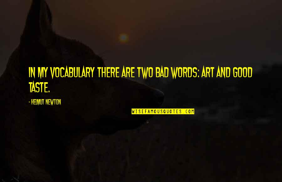 Bad Taste Quotes By Helmut Newton: In my vocabulary there are two bad words: