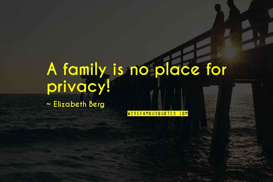 Bad Typing Quotes By Elizabeth Berg: A family is no place for privacy!