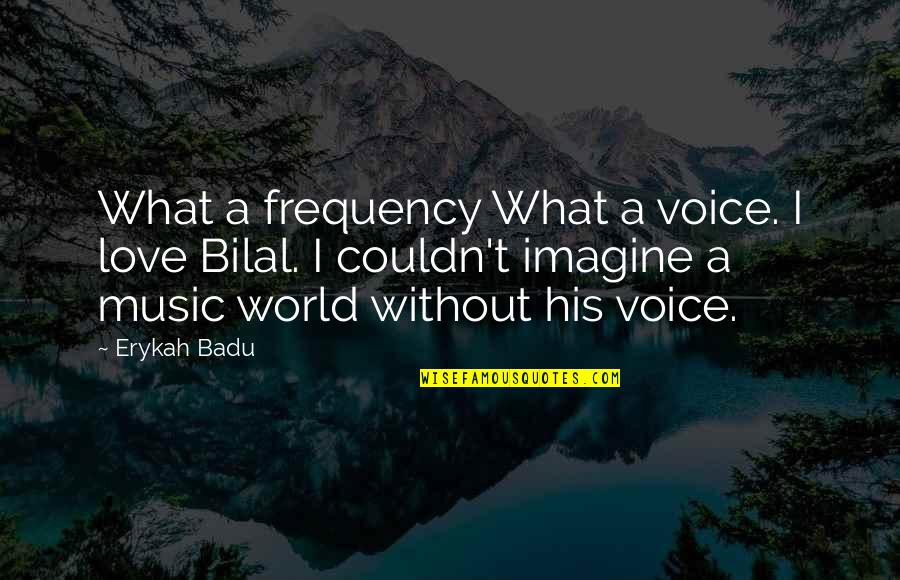 Badu Quotes By Erykah Badu: What a frequency What a voice. I love