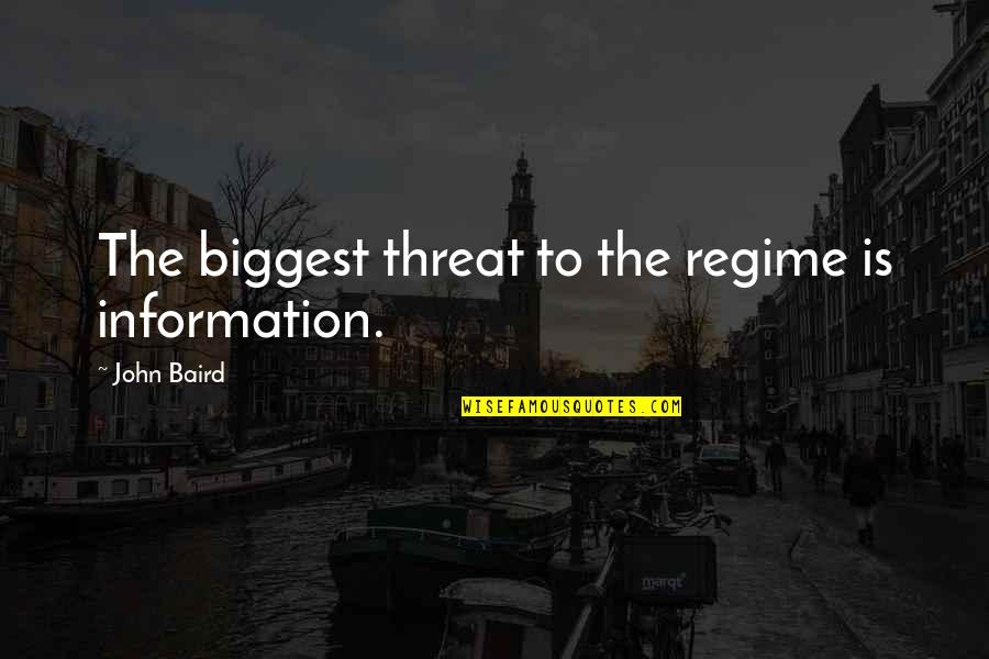 Baird Quotes By John Baird: The biggest threat to the regime is information.