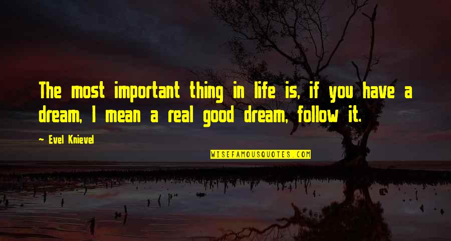 Baitoa Quotes By Evel Knievel: The most important thing in life is, if