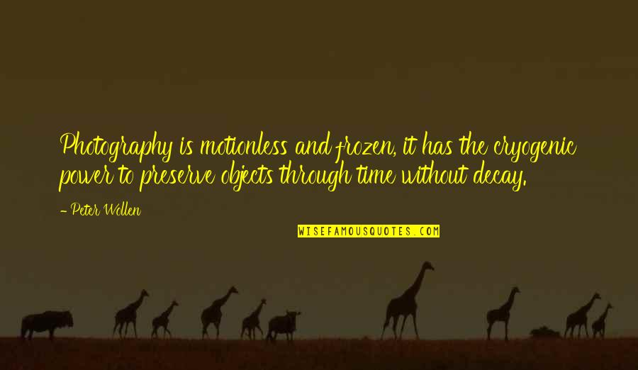 Balance In Friendship Quotes By Peter Wollen: Photography is motionless and frozen, it has the