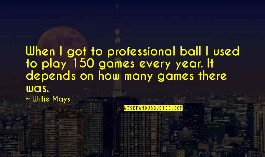 Ball Games Quotes By Willie Mays: When I got to professional ball I used