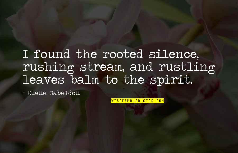 Balm Quotes By Diana Gabaldon: I found the rooted silence, rushing stream, and