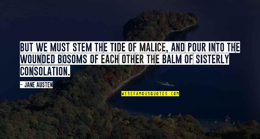 Balm Quotes By Jane Austen: But we must stem the tide of malice,