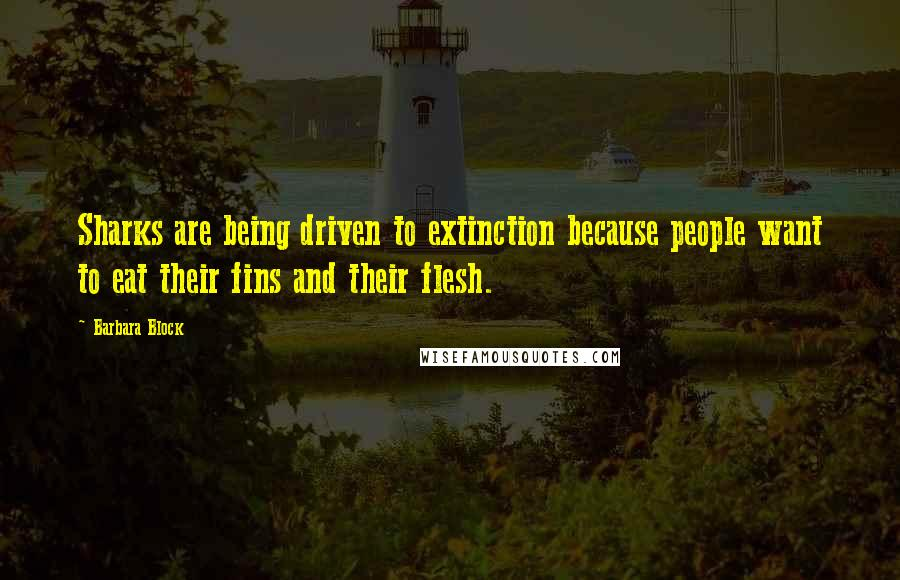 Barbara Block quotes: Sharks are being driven to extinction because people want to eat their fins and their flesh.