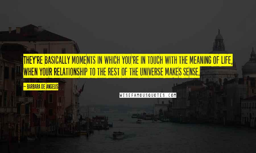 Barbara De Angelis quotes: They're basically moments in which you're in touch with the meaning of life, when your relationship to the rest of the universe makes sense.