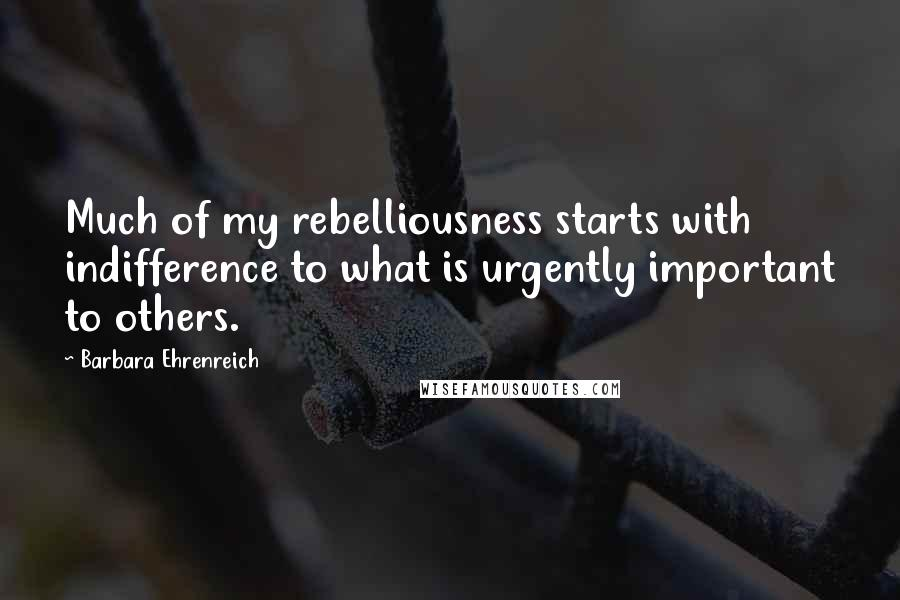Barbara Ehrenreich quotes: Much of my rebelliousness starts with indifference to what is urgently important to others.