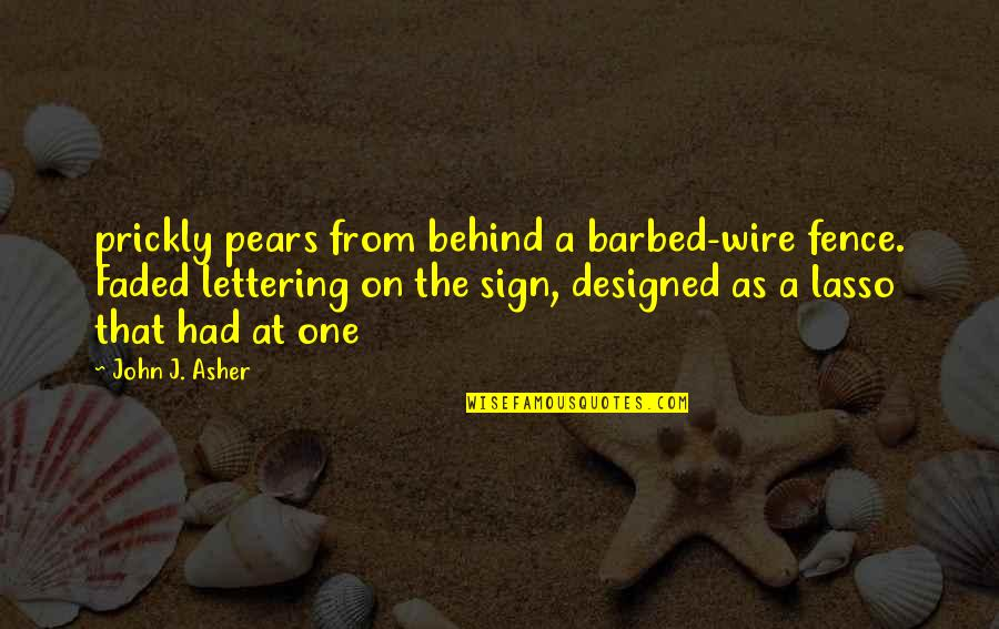Barbed Wire Quotes By John J. Asher: prickly pears from behind a barbed-wire fence. Faded