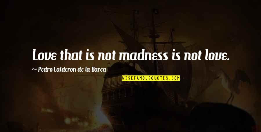 Barca's Quotes By Pedro Calderon De La Barca: Love that is not madness is not love.