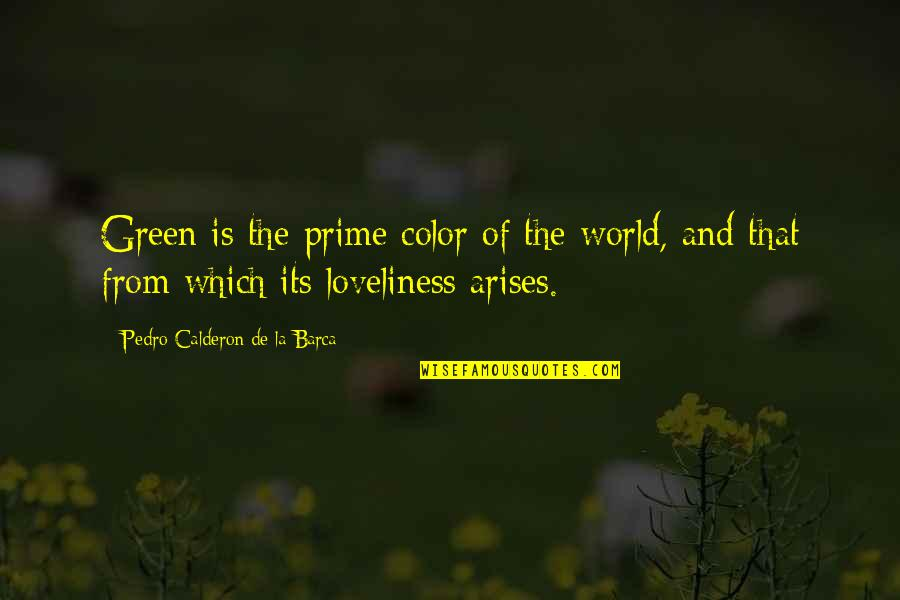 Barca's Quotes By Pedro Calderon De La Barca: Green is the prime color of the world,