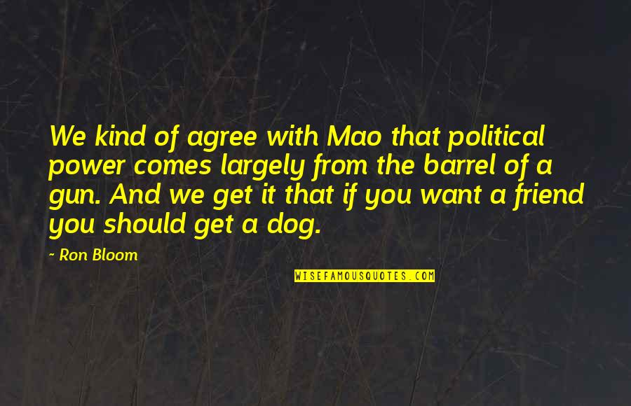 Barrel Of A Gun Quotes By Ron Bloom: We kind of agree with Mao that political