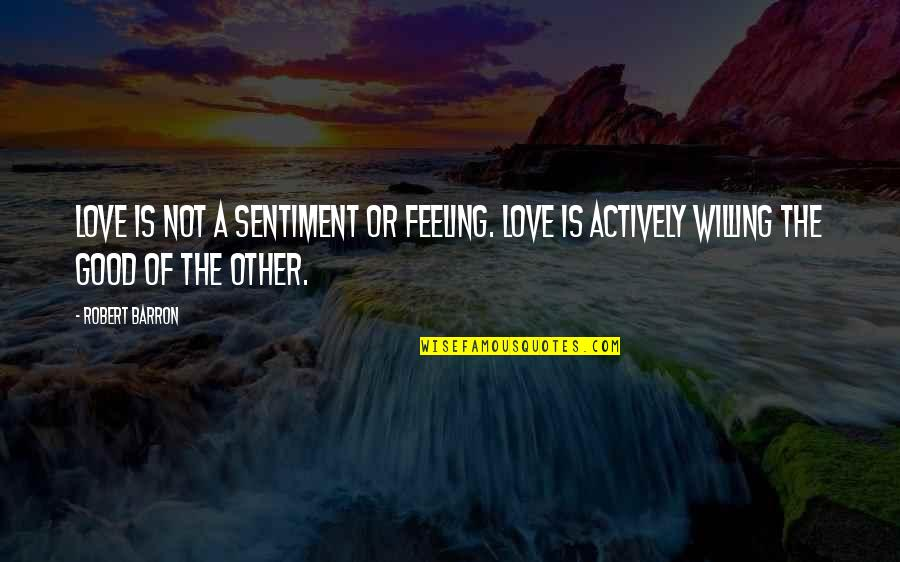 Barron Quotes By Robert Barron: Love is not a sentiment or feeling. Love