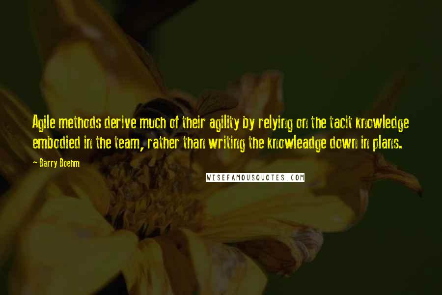 Barry Boehm quotes: Agile methods derive much of their agility by relying on the tacit knowledge embodied in the team, rather than writing the knowleadge down in plans.