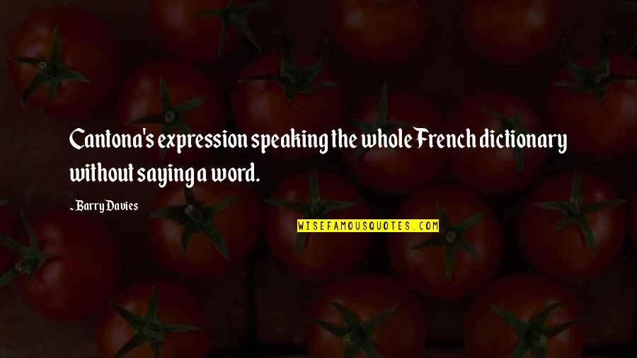 Barry Davies Quotes By Barry Davies: Cantona's expression speaking the whole French dictionary without