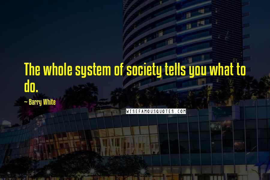 Barry White quotes: The whole system of society tells you what to do.